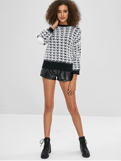 new Jacquard Houndstooth Knit Fuzzy Sweater - MULTI ONE SIZE Mobile