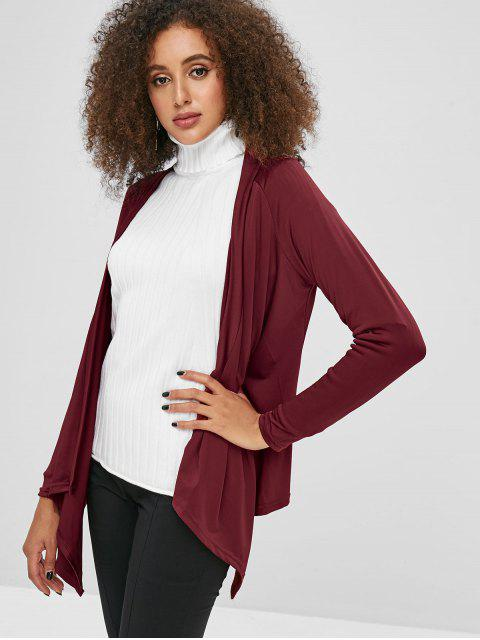 sale Solid Color Open Asymmetric Cardigan - RED WINE L Mobile