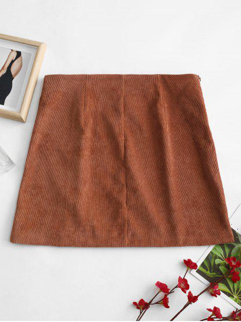 women ZAFUL Buttoned A Line Corduroy Skirt - BROWN S Mobile