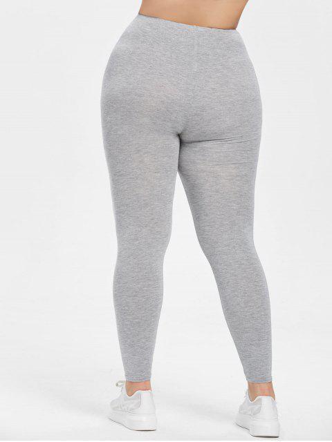 buy Plus Size High Waist Plain Leggings - GRAY 3X Mobile