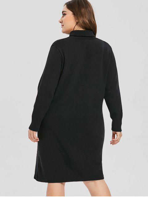 latest Fitted Plus Size Turtleneck Sweater Dress - BLACK 1X Mobile