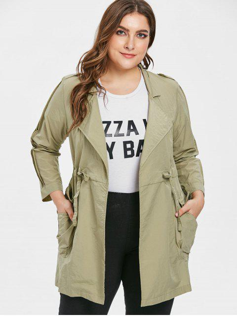 affordable Tunic Plus Size Drawstring Waist Coat - KHAKI 2X Mobile