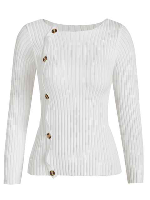 online Buttons Slim Sweater - WHITE ONE SIZE Mobile