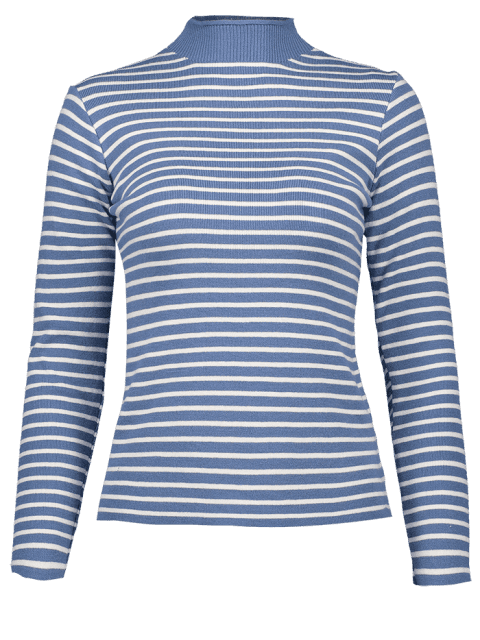 new Striped Mock Neck Sweater - BLUE ONE SIZE Mobile