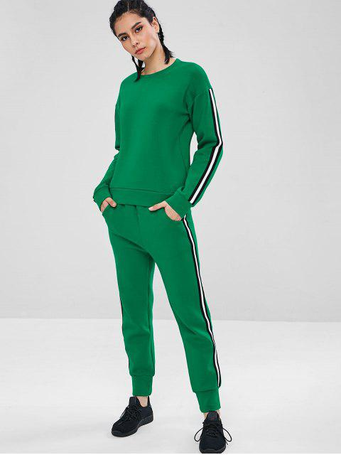 online ZAFUL Contrast Striped Trim Gym Sweatshirt - CLOVER GREEN L Mobile