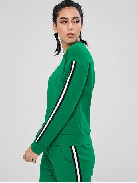 ZAFUL Kontrast Streifen Gymnastik Sweatshirt - Kleeblatt Grün L Mobile