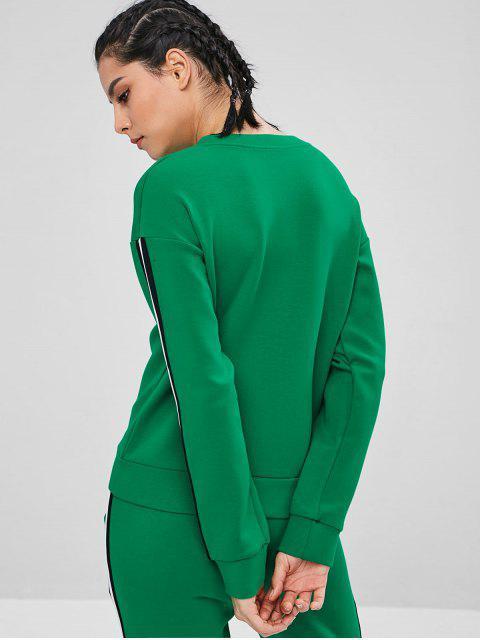 ZAFUL Sweat-shirt de Gymnastique à Ourlet Rayé Contrasté - Vert Trèfle L Mobile