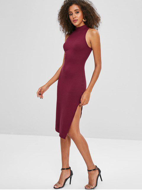 chic High Slit Sleeveless Plain Dress - RED WINE ONE SIZE Mobile