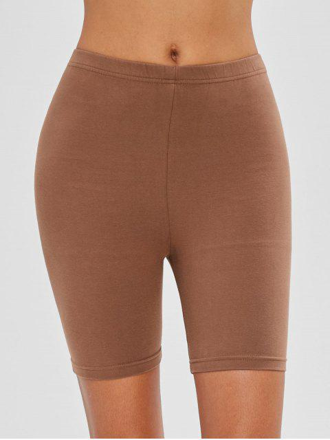 fancy Mid Waist Plain Biker Shorts - COFFEE M Mobile