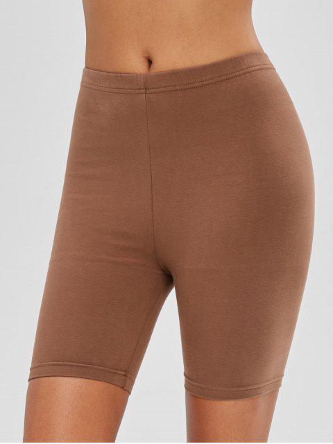 ladies Mid Waist Plain Biker Shorts - COFFEE L Mobile