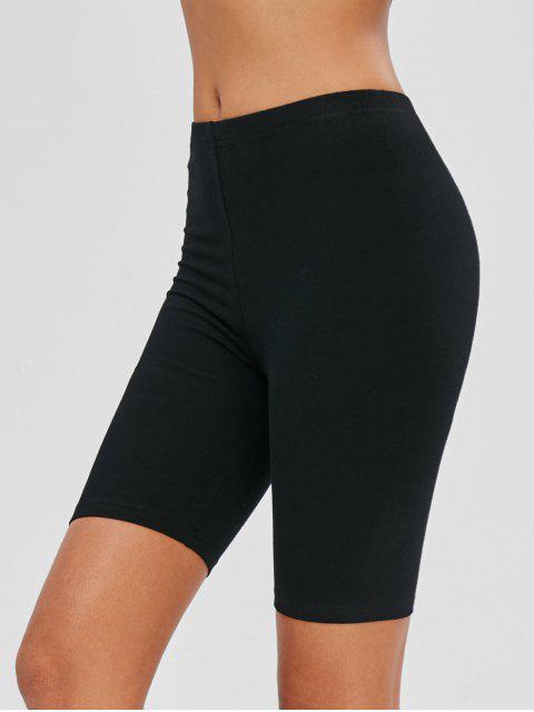 lady Mid Waist Plain Biker Shorts - BLACK S Mobile