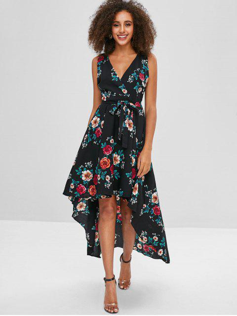 hot Floral Print Belted High Low Dress - MULTI-A M Mobile
