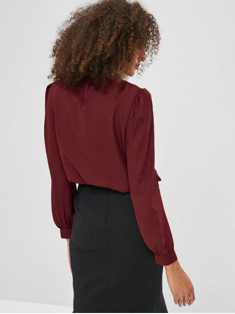 chic Solid Color Pleated Blouse - RED WINE S Mobile