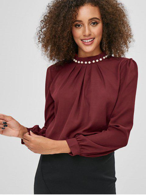 fancy Long Sleeves Beading Pleated Blouse - RED WINE S Mobile
