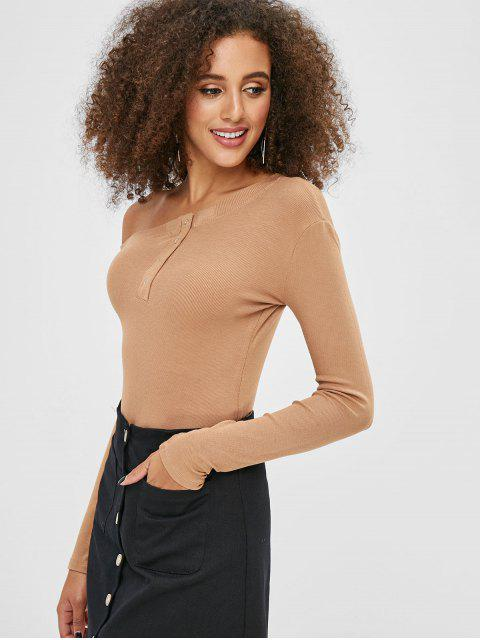T-shirt Simple Manches Longues à Col Asymétrique - Marron Camel M Mobile
