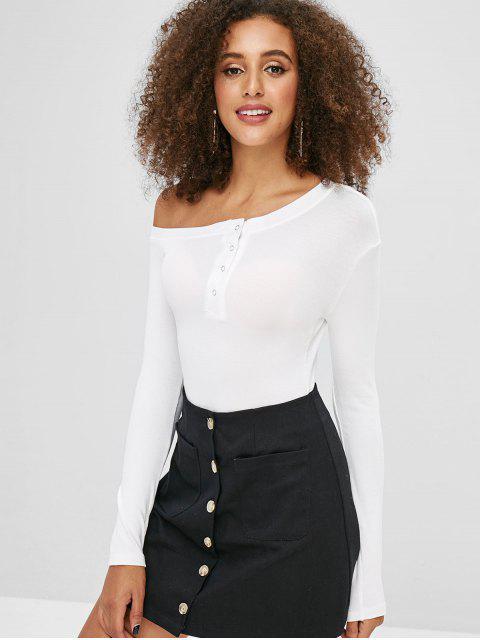 T-shirt Simple Manches Longues à Col Asymétrique - Blanc S Mobile