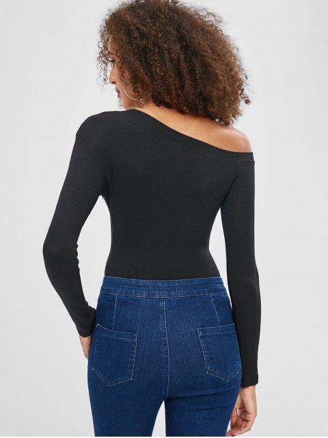 T-shirt Simple Manches Longues à Col Asymétrique - Noir S Mobile