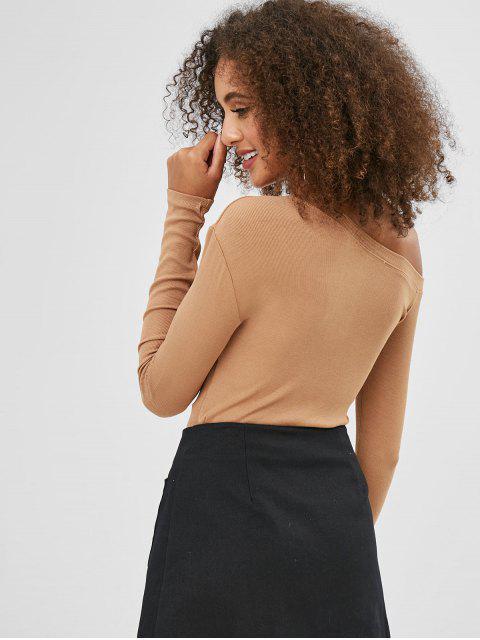 chic Skew Neck Long Sleeves Plain Tee - CAMEL BROWN S Mobile