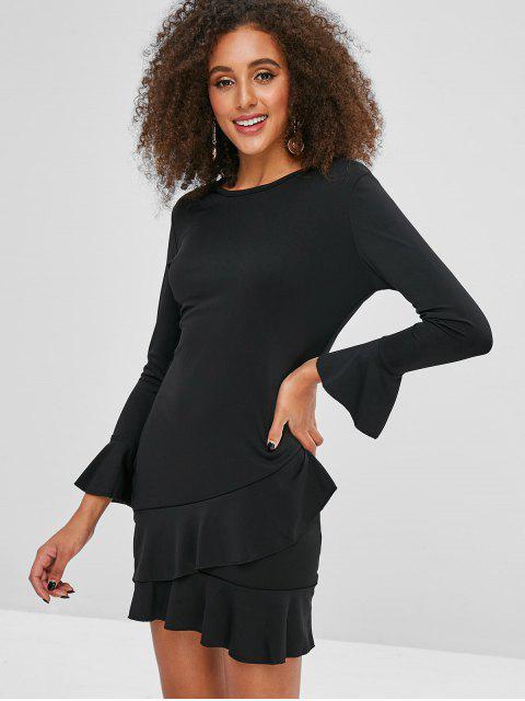 affordable Flare Sleeve Ruffles Mini Dress - BLACK M Mobile