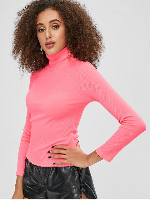 lady Mock Neck Ribbed Plain Top - WATERMELON PINK M Mobile