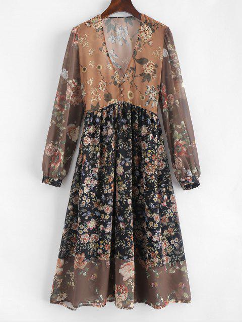 Vestido de cuello redondo con estampado floral de V - Multicolor L Mobile