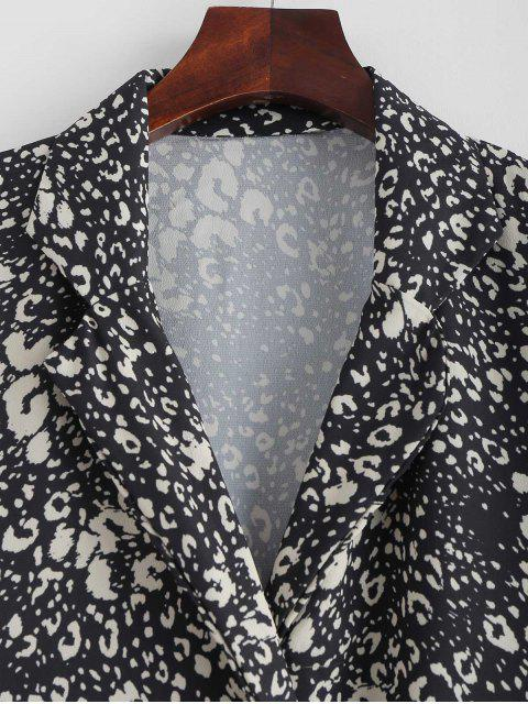 hot Leopard Print Lapel High Low Blouse - BLACK S Mobile