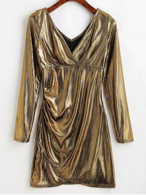 womens Metallic Plunging Mini Dress - CHAMPAGNE GOLD ONE SIZE Mobile