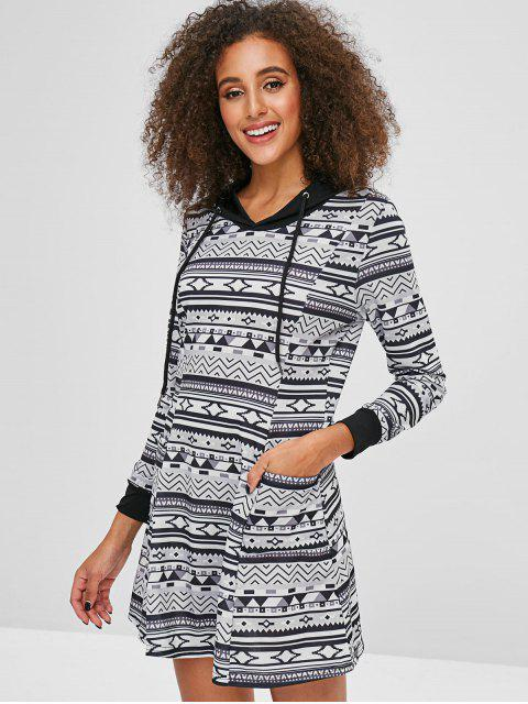 outfit Printed A Line Hooded Dress - MULTI-A M Mobile