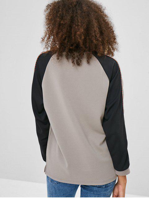 Sweat-shirt en Bloc de Couleur Fendu à Manches Raglan - Gris Taille Unique Mobile