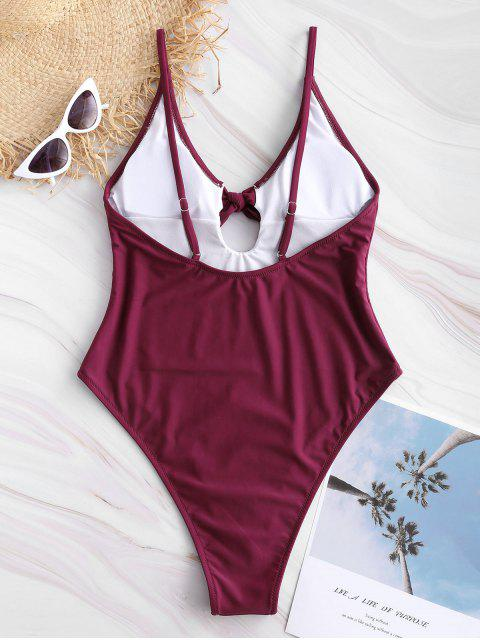 affordable Bowtie High Cut One Piece Swimsuit - MAROON S Mobile