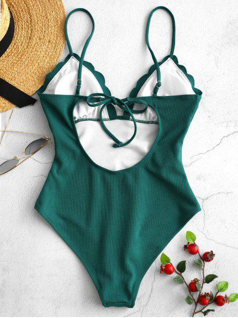 ZAFUL Textured Scalloped One Piece Swimsuit - ازرق مخضر M Mobile
