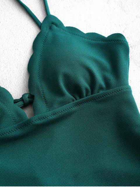 ZAFUL Зубчатый край Текстурированный Слитный Купальник - Зелено-синий L Mobile