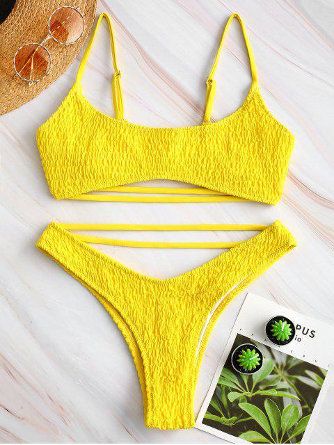 new ZAFUL Strappy Smocked Bikini Set - MUSTARD S Mobile