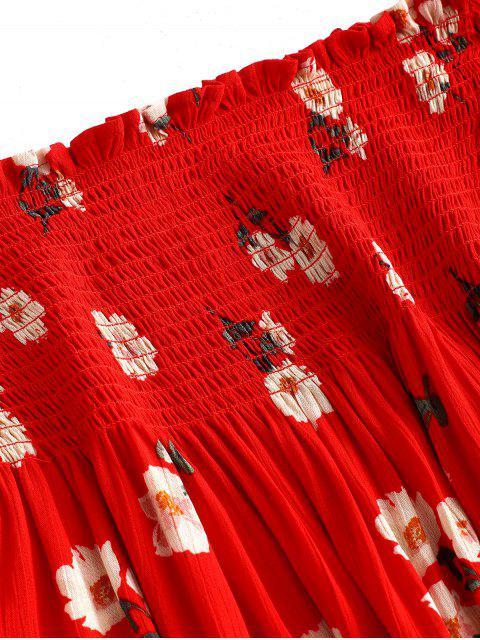 ZAFUL Robe Fleurie Plissée à Epaule Dénudée - Rouge Lave S Mobile