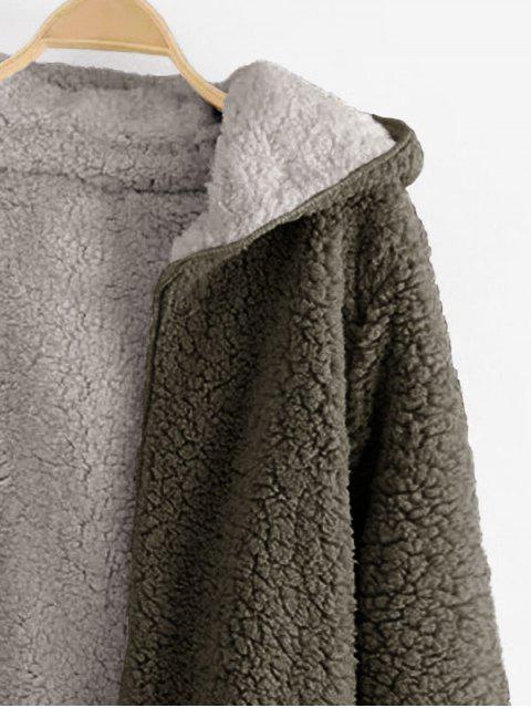 Manteau à Capuche Ouvert en Avant en Laine - Vert Armée  S Mobile