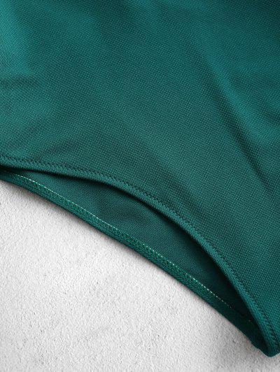 ZAFUL Textured Scalloped One Piece Swimsuit, Greenish blue