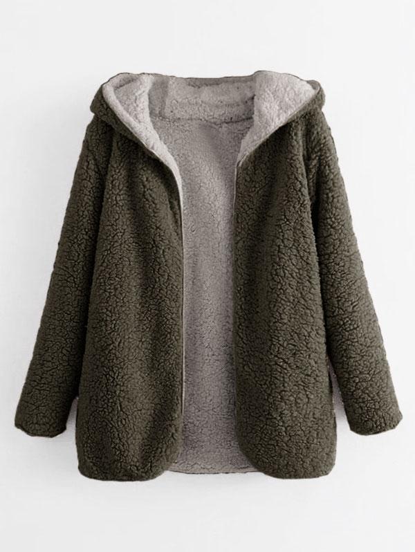 Hooded Open Front Lamb Wool Teddy Coat, Army green