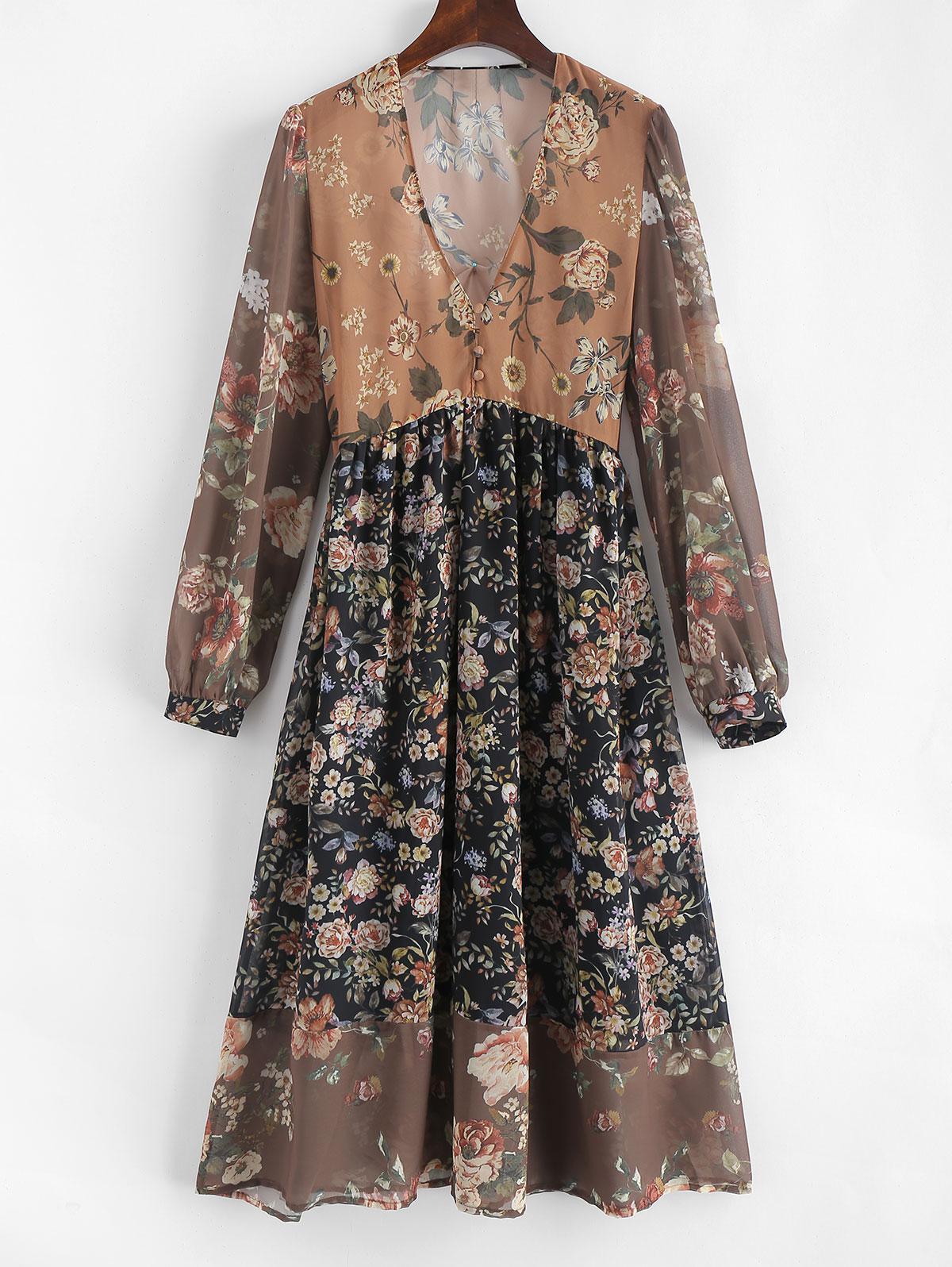 V Neck A Line Floral Print Dress