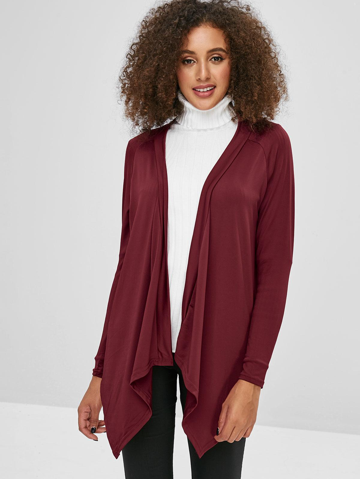 Solid Color Open Asymmetric Cardigan, Red wine