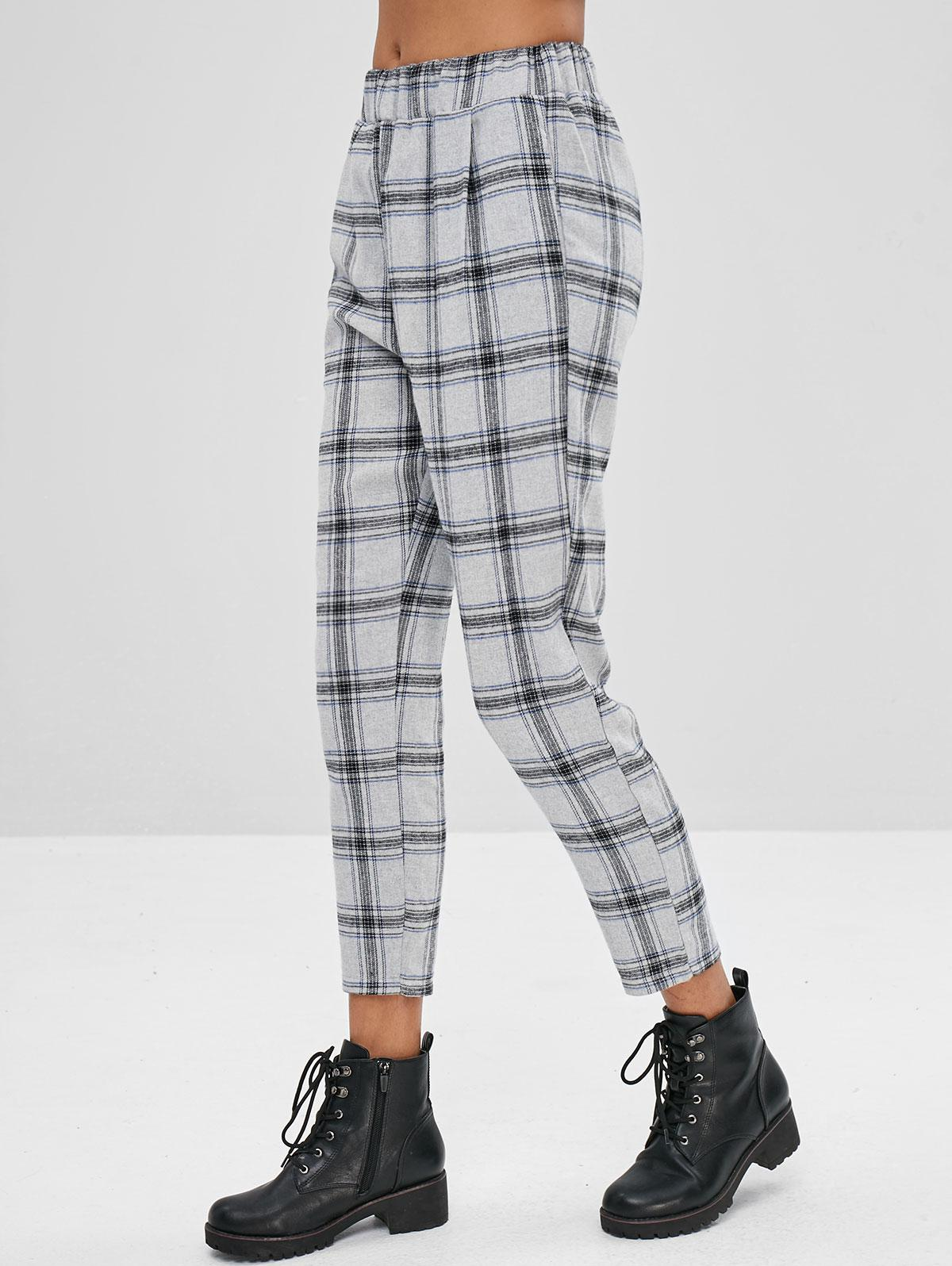 High Waisted Plaid Straight Pants фото