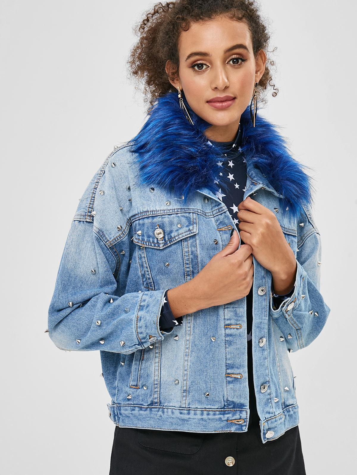 Faux Fur Collar Studded Denim Jacket