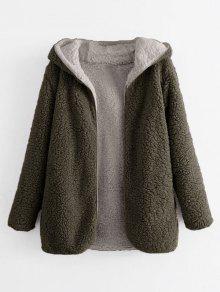 28 Off 2019 Hooded Open Front Lamb Wool Teddy Coat In
