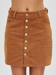 زر حتى جيوب سروال قصير تنورة - النمر البرتقالي M