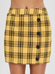 ZAFUL منقوشة تنورة قصيرة جاهزة - نحلة صفراء L