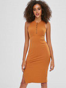 فستان عاري الكتفين - الذهب البرتقالي