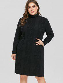 زائد حجم اللباس سترة الياقة المدورة - أسود 1x