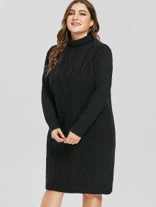 2aebe93ca771 33% OFF] 2019 Fitted Plus Size Turtleneck Sweater Dress In BLACK | ZAFUL