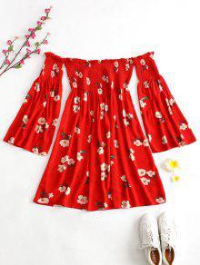ZAFUL Smocked الأزهار قبالة الكتف اللباس - الحمم الحمراء S