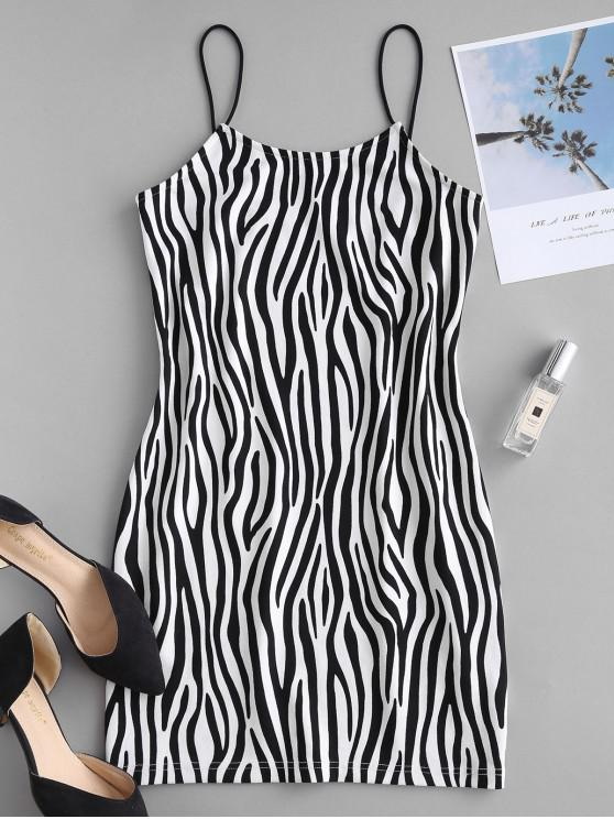 fashion ZAFUL Zebra Print Fitted Cami Dress - BLACK S