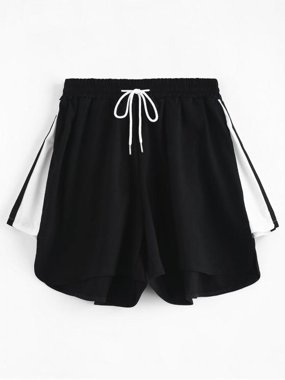 women's High Waisted Drawstring Pull On Shorts - BLACK S